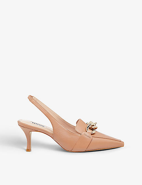 DUNE: California chain-embellished leather slingback courts
