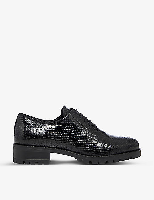 DUNE: Flash snakeskin-embossed leather Derby shoes