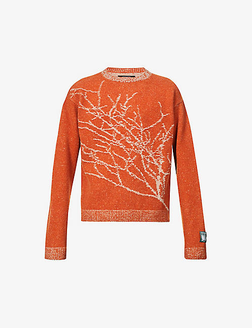 REESE COOPER: Branches graphic-pattern wool jumper