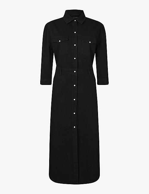 ALLSAINTS: Polly three-quarter length sleeve denim midi dress