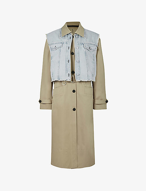 ALLSAINTS: Zadie 2-in-1 stretch-cotton trench coat