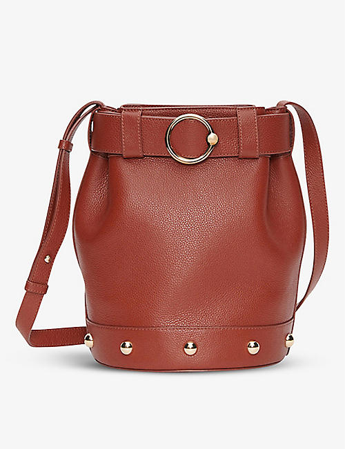 CLAUDIE PIERLOT: Alix logo-embossed leather bucket bag