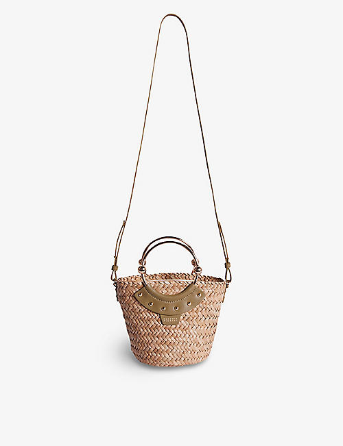 CLAUDIE PIERLOT: Leather and raffia basket shoulder bag