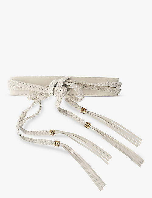 MAJE: Anoutresse braided tie suede-leather belt