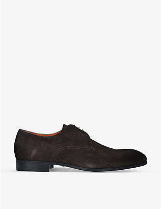 SANTONI: Simon suede derby shoes