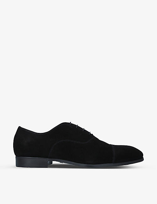 SANTONI: Simon suede Oxford shoes