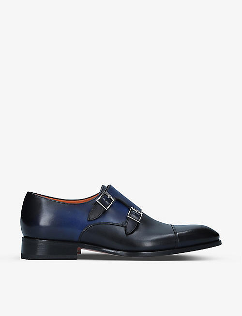 SANTONI: Carter leather double-buckle monk shoes