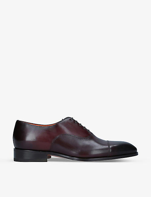 SANTONI: Carter leather Oxford shoes