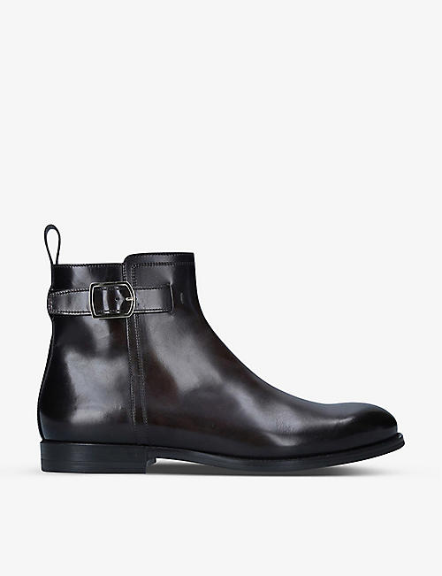 SANTONI: Newport buckled leather Chelsea boots