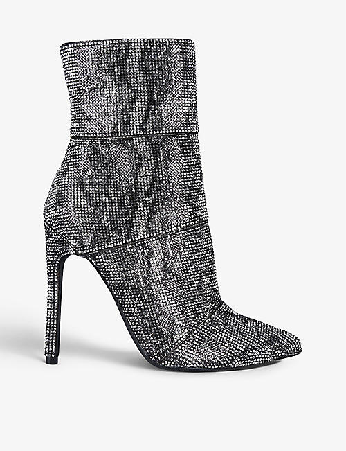 STEVE MADDEN: Winona snakeskin-print embellished-woven ankle boots