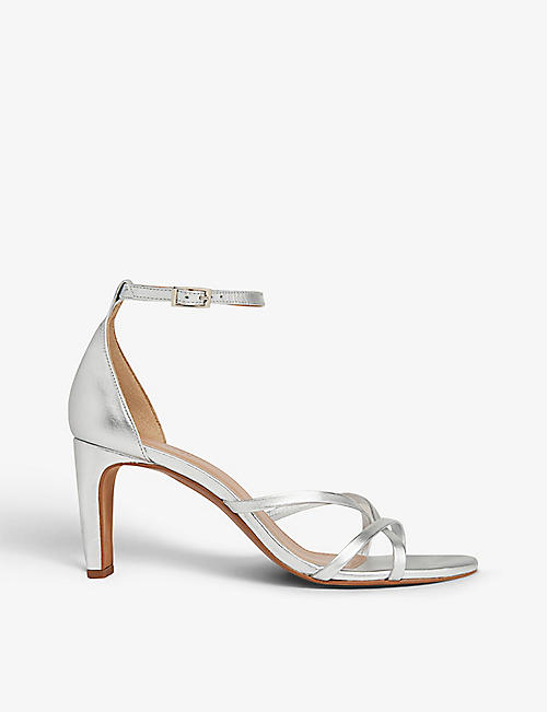 WHISTLES: Hallie strappy metallic-leather heeled sandals