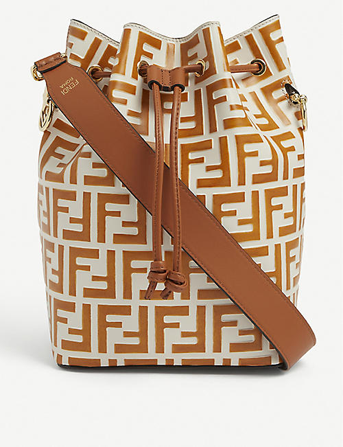 FENDI: Mon Trésor logo-embossed leather bucket bag