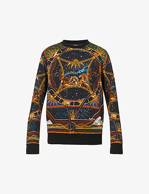 BALMAIN: Graphic-print crewneck cotton-jersey sweatshirt
