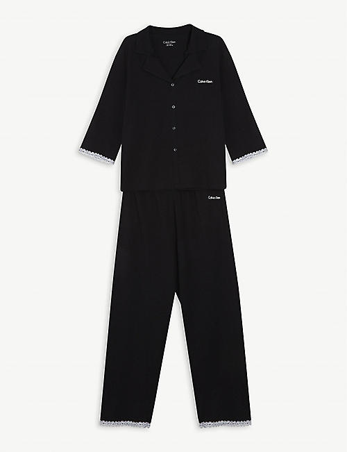CALVIN KLEIN: Lace-trimmed cotton pyjama set 8-16 years