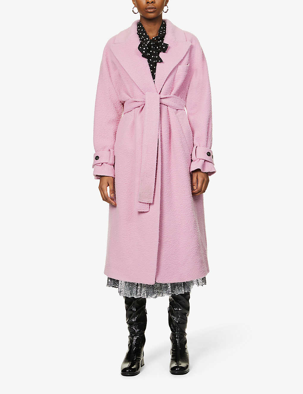 MSGM: Belted wool-blend coat