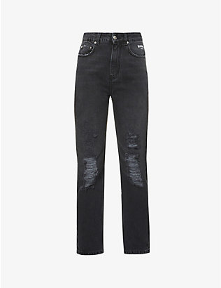 MSGM: Distressed regular-fit high-rise jeans
