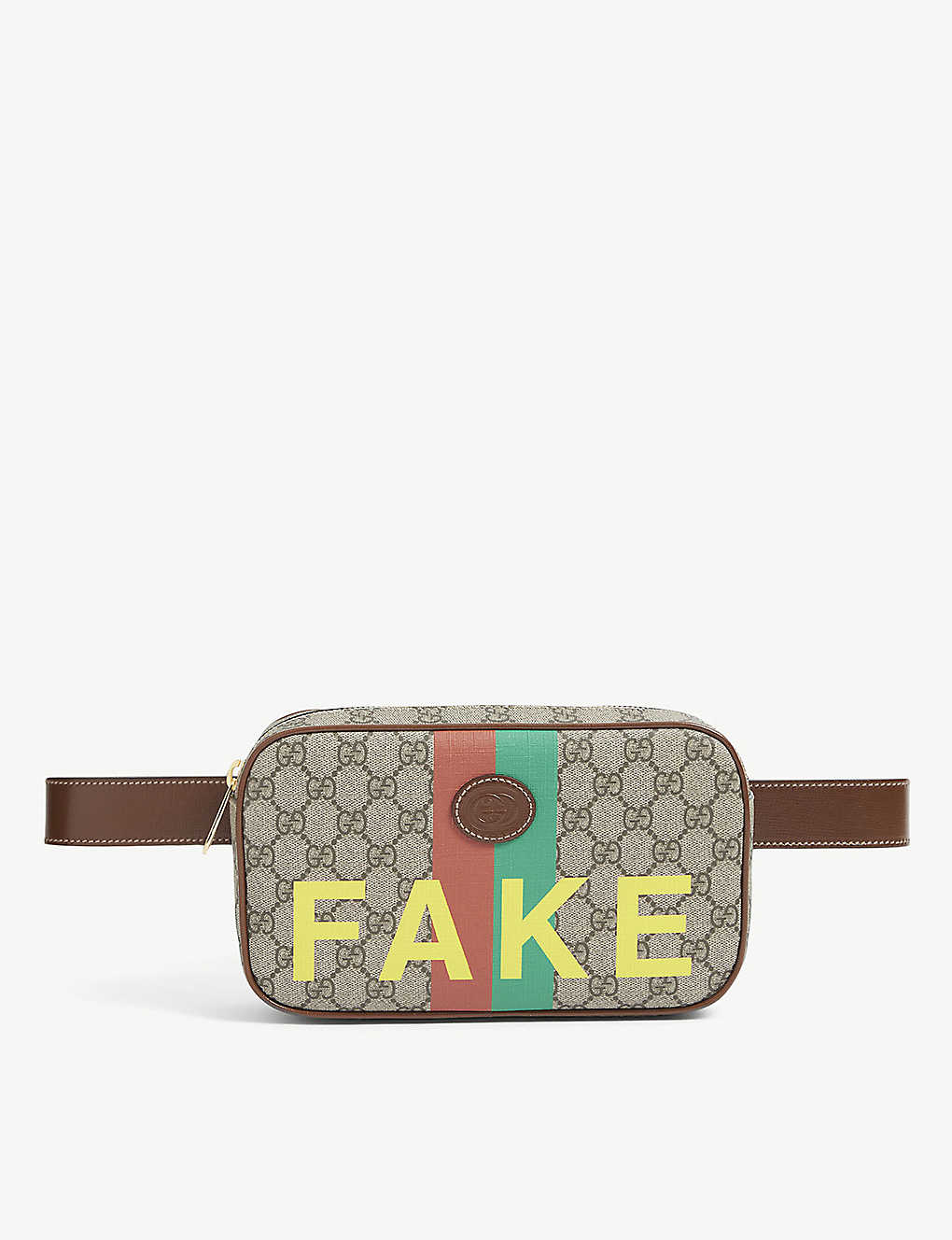 GUCCI: Fake/Not printed coated canvas belt bag