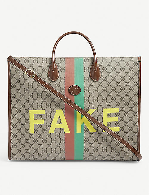 GUCCI: 'Fake' logo-print canvas tote bag