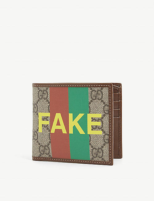 GUCCI: 'Fake' logo-print canvas bifold wallet