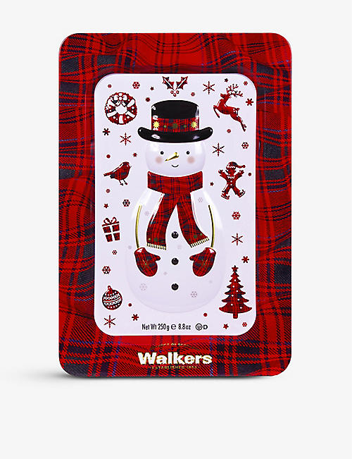 WALKERS: Snowman Festive Shapes shortbread tin 250g