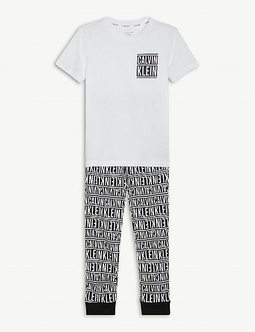 CALVIN KLEIN: Logo-print cotton pyjama set 8-16 years