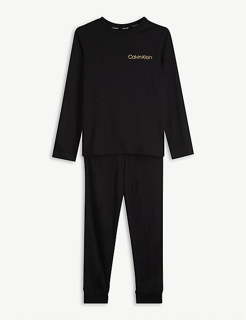 CALVIN KLEIN: Brand-print cotton pyjama set 8-16 years