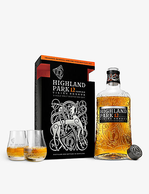 WHISKY AND BOURBON: Highland Park 12-year-old single malt Scotch whisky with glasses gift set 700ml