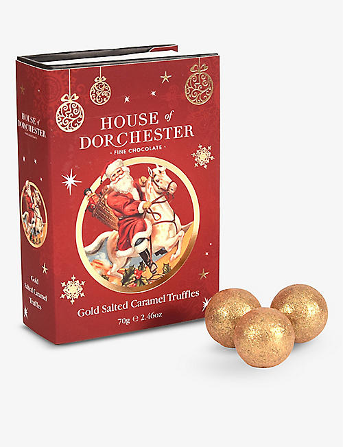 HOUSE OF DORCHESTER: Santa Book salted caramel milk chocolate truffles 70g