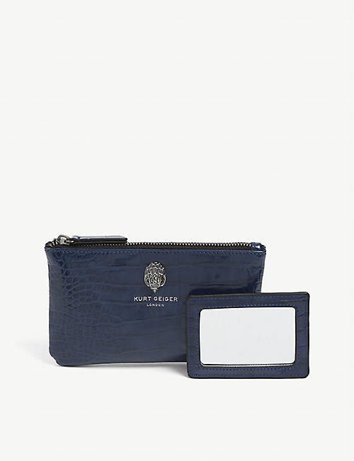 KURT GEIGER LONDON: Croc-embossed faux-leather pouch