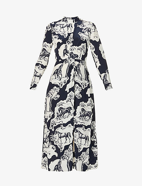 WHISTLES: Graphic-print silk-crepe midi dress