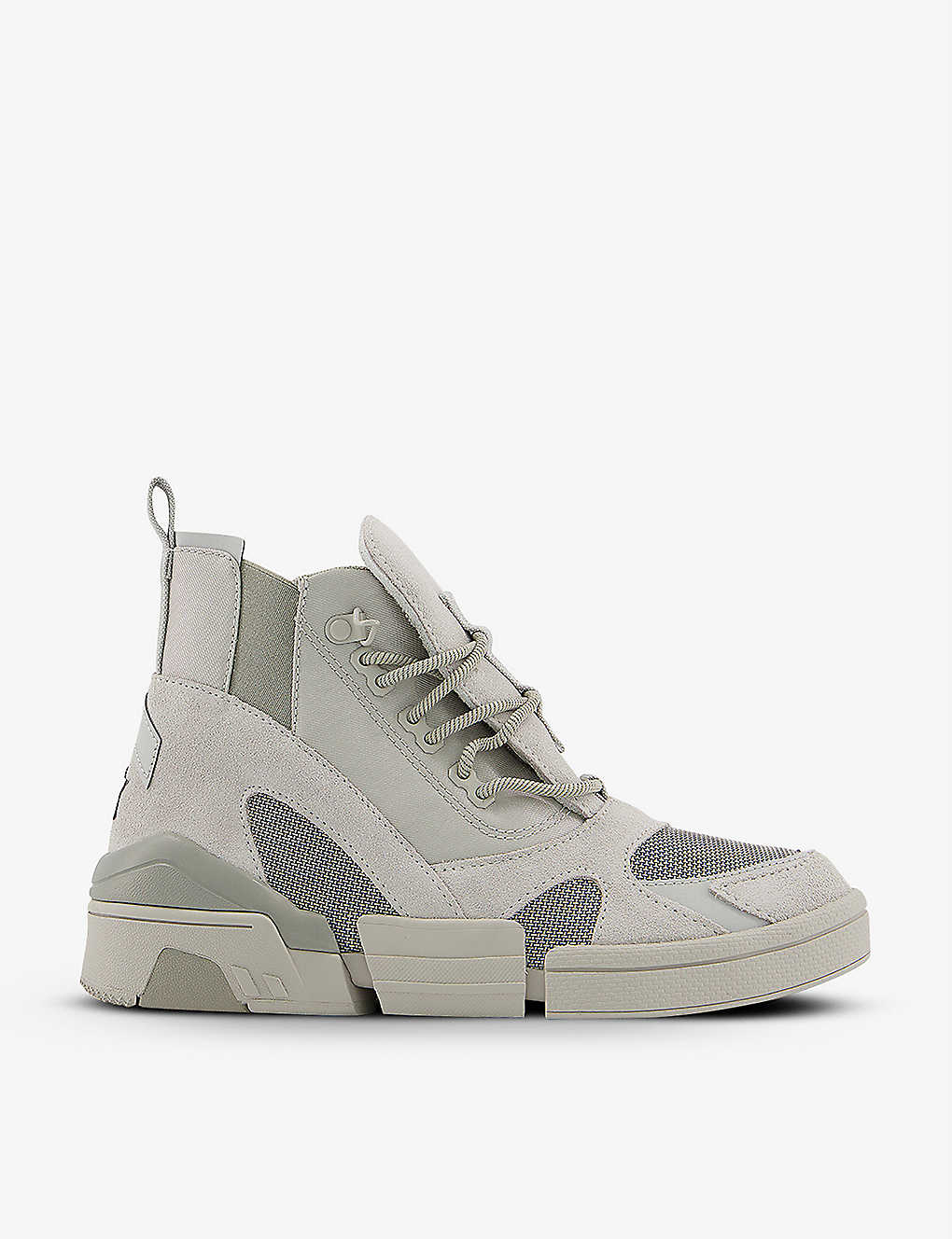 CONVERSE: CPX70 panelled suede and canvas high-top trainers