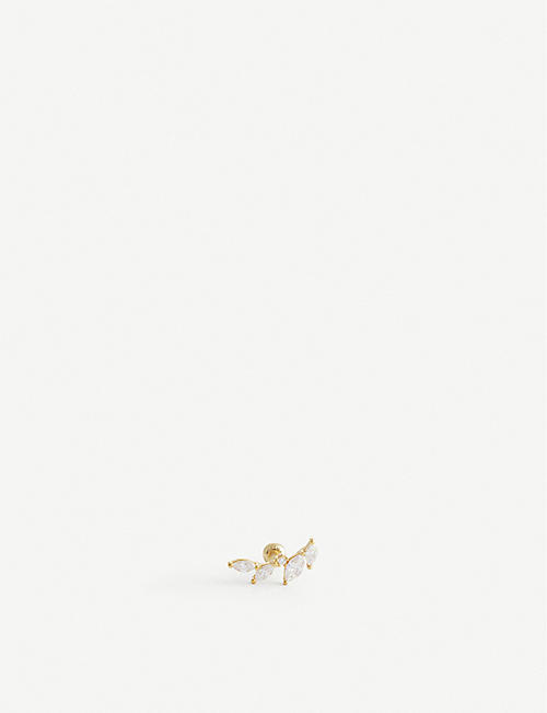 ASTRID & MIYU: Crystal 18ct gold-plated sterling silver barbell earring