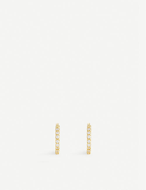 ASTRID & MIYU: Crystal 18ct gold-plated sterling silver huggie earrings