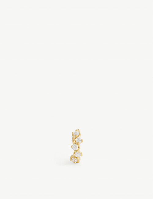 ASTRID & MIYU: Gem 18ct gold-plated sterling silver clicker earring