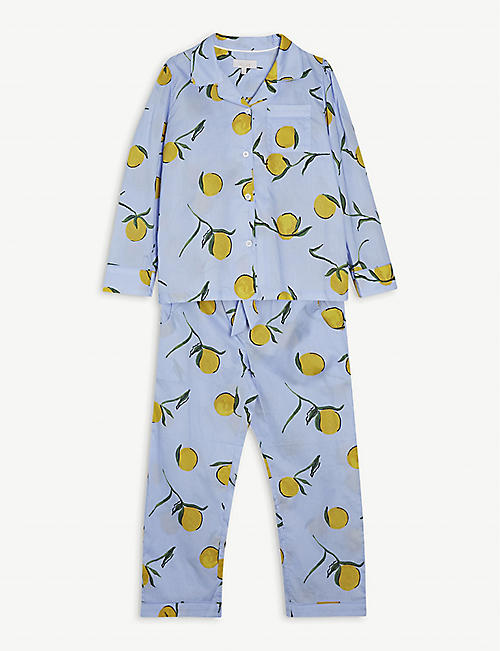 LITTLE YOLKE: Lemon-print cotton pyjama set 3-12 years