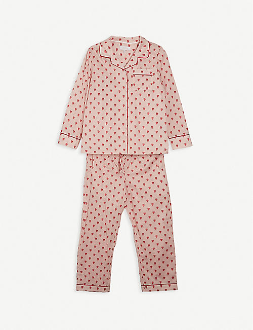 LITTLE YOLKE: Queen of Hearts cotton pyjama set 3-12 years