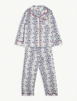 LITTLE YOLKE: Blossom-print cotton pyjama set 3-12 years