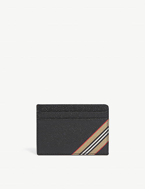 BURBERRY: Kier Icon Stripe leather cardholder