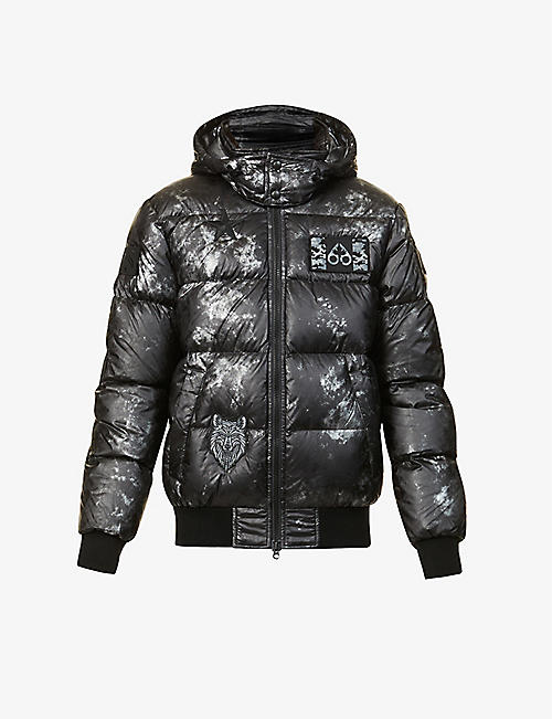 MOOSE KNUCKLES: Pengarth graphic-print shell-down bomber jacket