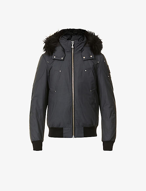 MOOSE KNUCKLES: Ballistic shearling-trim bomber jacket
