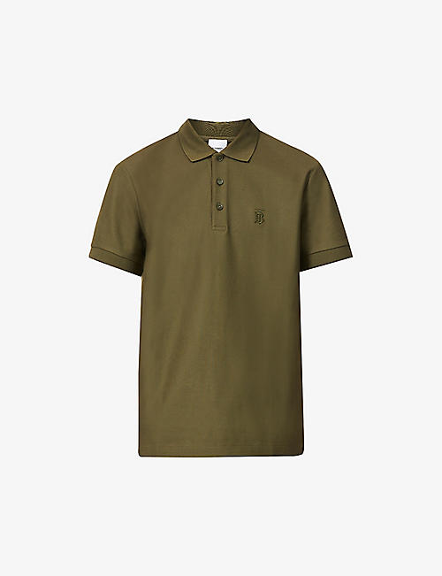 BURBERRY: Eddie brand-embroidered cotton-piqué polo shirt