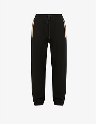 BURBERRY: Lexington contrast-stripe cotton-jersey jogging bottoms