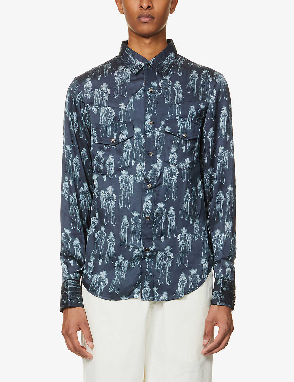 BILLY LOS ANGELES: Abstract-print relaxed-fit cotton shirt