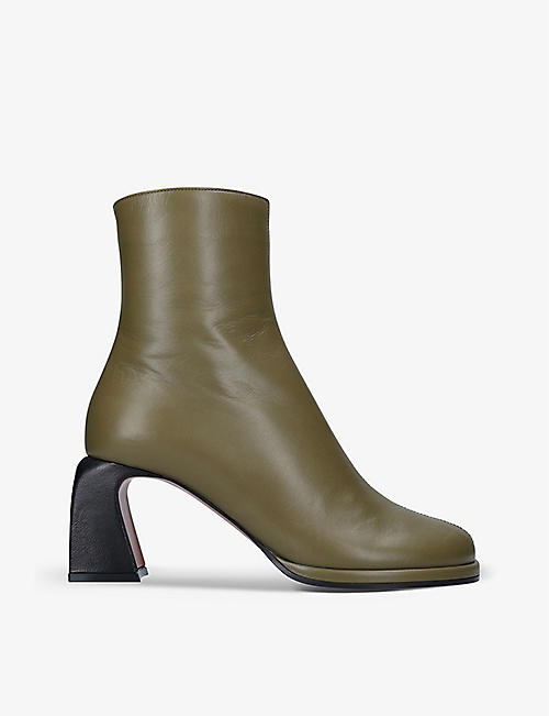 MANU ATELIER: Chae leather heeled ankle boots