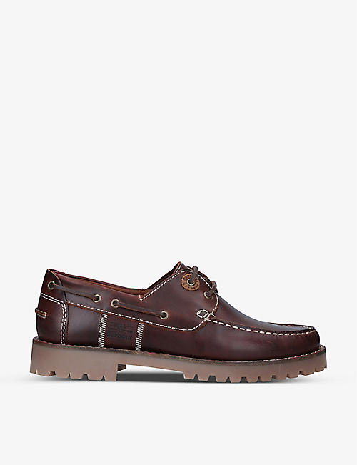 BARBOUR: Stern leather boat shoes