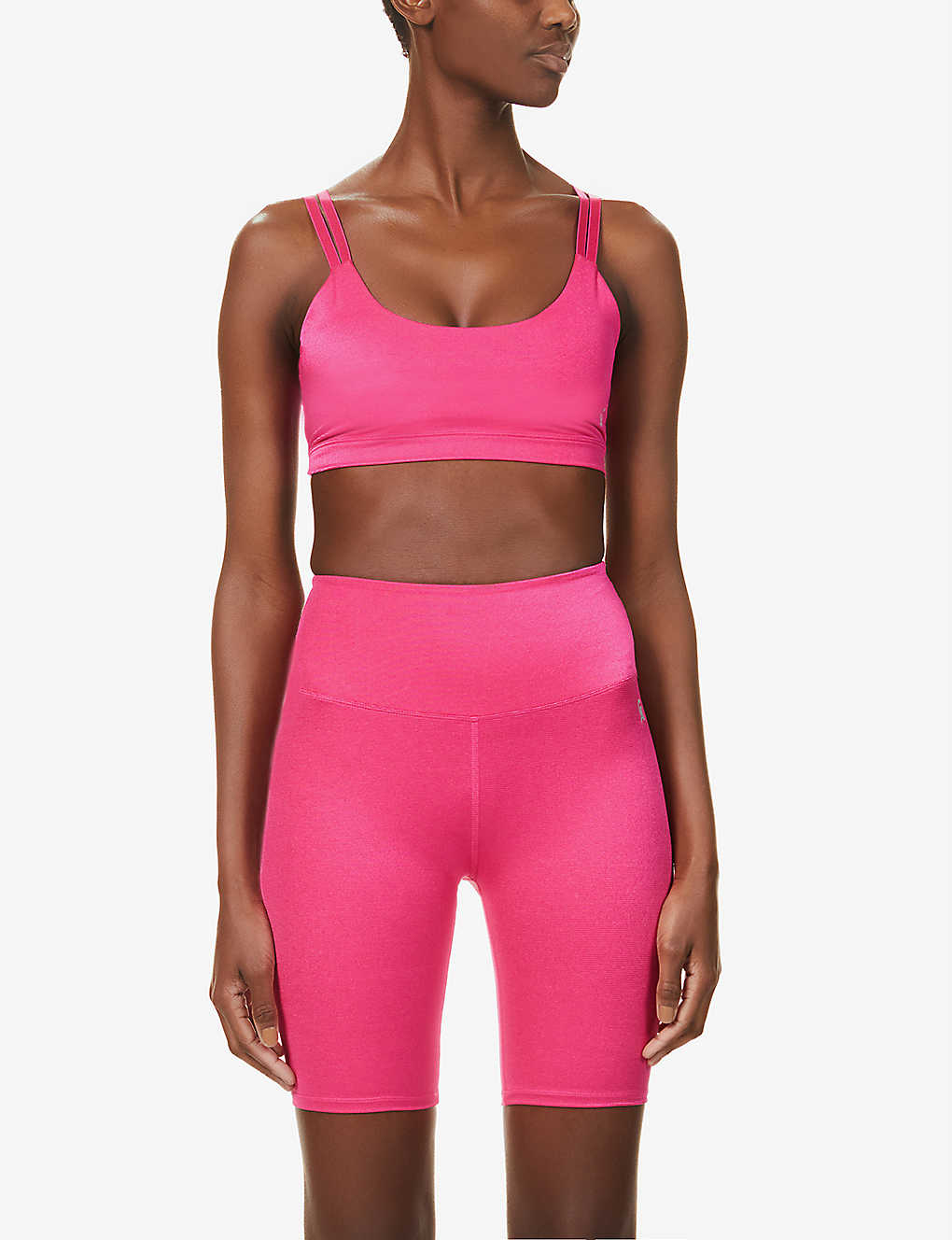 GOOD AMERICAN: Shiny scoop-neck sports-jersey sports bra