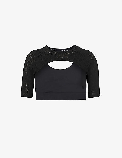 GOOD AMERICAN: Midnight mesh-overlay stretch-woven top