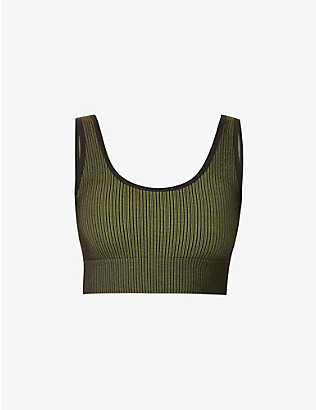 GOOD AMERICAN: Seamless Ribbed stretch-jersey sports bra