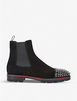 CHRISTIAN LOUBOUTIN: Melon Spikes Flat Calf P Crosta Wax Gg B
