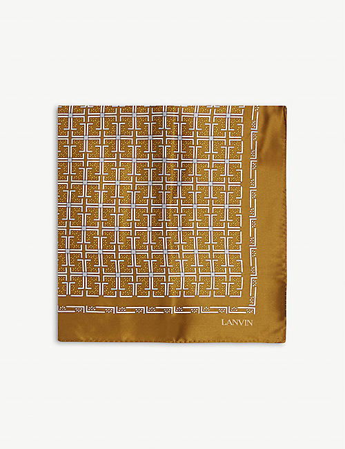 LANVIN: Abstract Lines silk tie and pocket square set